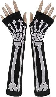 Winter Warm Skull Bone Skeleton Long Fingerless Gloves Arm Warmer Sleeve for Women Girls with Stylus