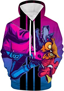 Novelty Hotline Miami Pullover Sweater Tee Long Sleeve Hoodie Top Blouse Running for Men Teens
