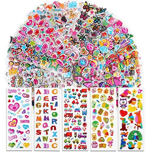 VINFUTUR 50 Blatt 3D Aufkleber für Kinder & Kleinkinder Geschwollen Stickers Cartoon Selbstklebend Aufkleber Scrapbooking Stickers für Karten Sammelalbum Fotoalbum Handbuch Basteln DIY Handwerk