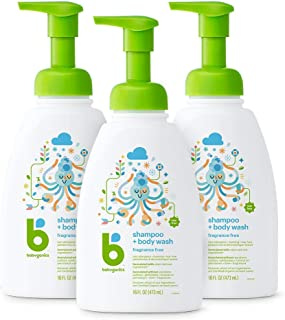Babyganics Baby Shampoo + Body Wash Pump Bottle, Fragrance Free, 16oz, 3 Pack, Packaging May Vary