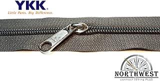 YKK #5 CN Zipper coil chain. Each yard comes with 1 slider. (Gray, 10 yards, 10 nickel sliders)