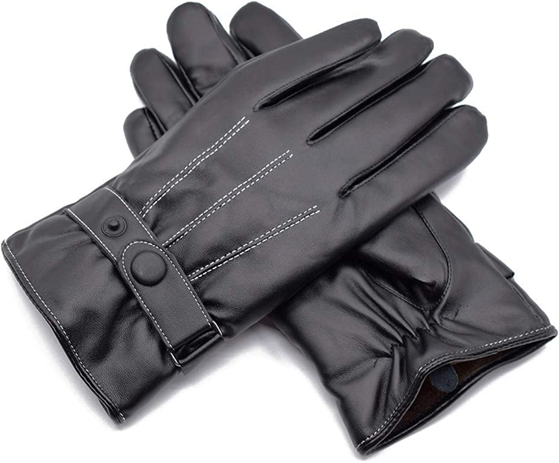 Black Lined PU Leather Gloves for Colorado Springs Mall Women Lining Touch Large-scale sale Warm Winter
