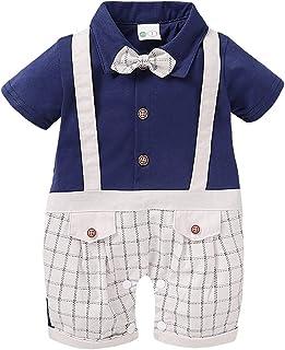 صيف طفل أولاد منقوشة أكمام قصيرة سترة بذلة انسان محترم رومبير (Color : Blue, Kid Size : 18M)