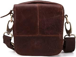 Mens Bag Messenger Bag Retro Leather Men's Pockets Outdoor Leisure Belt 5 Inch Mobile Phone Bag Shoulder Bag High capacity