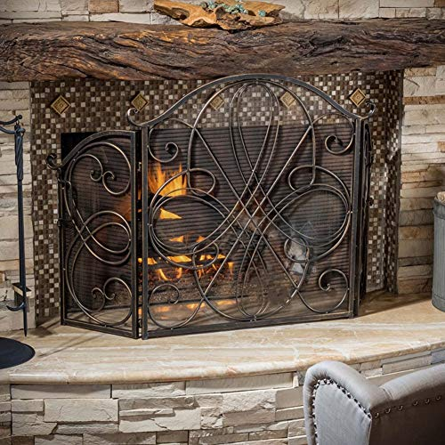 New Erru Vintage Fire Screen Spark Guard - 4-Panel Fireplace Safety Wrought Iron Fireguard, Indoor L...