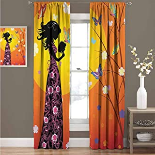EDZEL Curtain, Room Darkening, Noise Reducing, Teen Girls Decor, Flowers Butterflies and Silhouette of Girl in Floral Dress with Bouquet Fantasy Art, 96