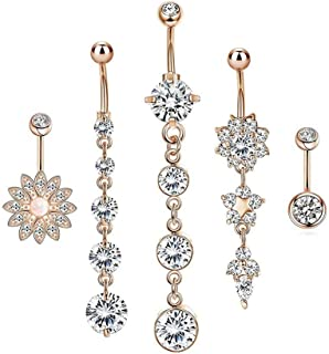 HoBST Stainless Steel Sexy Dangle Flower Belly Button Rings for Men Women Girls Body Piercing Jewelry Set