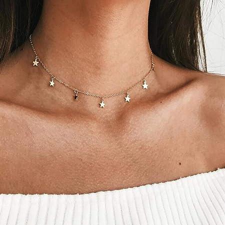 Aukmla Collana girocollo Boho Accessori per gioielli a catena con collane a stella in oro per donne e ragazze