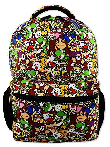 Nintendo Super Mario Brothers Boys Girls Teen 16' School Backpack (One Size, Black/Multi)