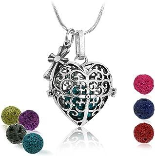Maromalife Diffuser Pendant Necklace, Love Heart Lava Stone Diffuser Necklace Essential Oil Necklace 24 Inches Chain with 7 Lava Stone