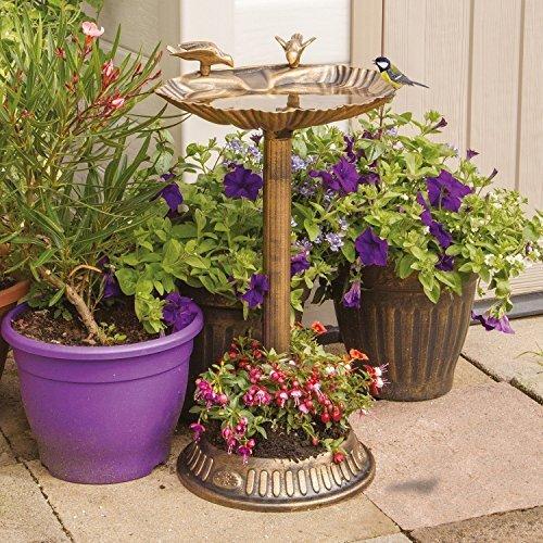 Gardenkraft 17390 Clam Shell Bird Bath with Built-in Base Planter | Bronze Effect | Weatherproof | Easy To Assemble | 66cm x 29.5cm