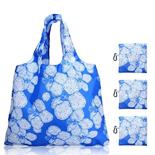 Luxja エコバッグ 3点セット 買い物バッグ 折りたたみ 大容量 軽量 花ブルー