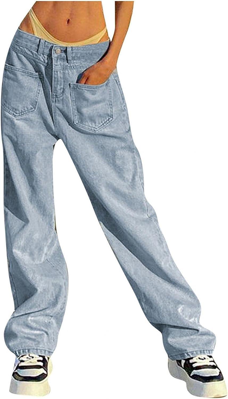 Aiouios Women's Distressed Boyfriend Jeans Low Waist Stretch Baggy Wide Leg Ripped Denim Pants Casual Pocket Jeans Trousers