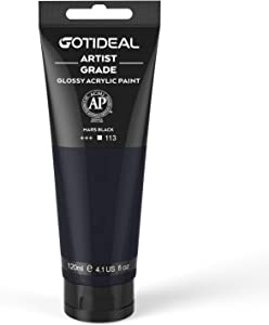 GOTIDEAL Acrylic Paint Mars Black Tubes(120ml, 4.1 oz) Non Toxic Non Fading,Rich Pigments for Painters, Adults & Kids, Ideal for Canvas Wood Clay Fabric Ceramic Craft Supplies (Mars Black)