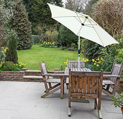 GlamHaus Garden Parasol Tilting Table Umbrella for Outdoors 2.7m, Crank Handle, UV 40+ Protection, Additional Parasol Protection Cover, Gardens and Patios - Robust Aluminium (Cream)