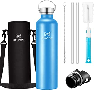 OMORC 316 Stainless Steel Sports Water Bottle-20oz,34oz, Double Wall Vacuum Insulated Water Bottle,Stay Cold for 48 Hrs,Hot for 24 Hrs, Straw and 2 Lids, Wide Mouth,Thermo Travel Modern Mug,BPA Free