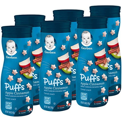Gerber Graduates Puffs Cereal Snack, Apple Cinnamon, Naturally Flavored with Other Natural Flavors, 1.48 Ounce, 6 Count