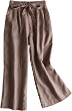 IXIMO Women's100% Linen Cropped Wide Leg Pants with Drawstring Back Elastic Waist Palazzo Capri Pants