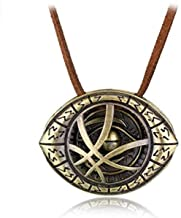 YANCONG Strange Necklace Dr.Strange Cosplay Agamotto Eye Pendant Necklace Cadena de Cuero Genuino Regalo de joyería para Hombres