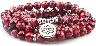 GVUSMIL 8 مم 108 مالا الخرز التفاف سوار قلادة لليوغا سحر سوار مجوهرات الأحجار الكريمة الطبيعية للنساء الرجال
