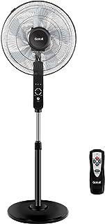 Gotoll Ventilador de Pie con 5 aspas, 45 cm de Diámetro, 3 Velocidades, Altura Ajustable 116,5 a 132 cm, Oscilación de 90°, Temporizador 9 Horas, con Control Remoto, Potencia 60 W