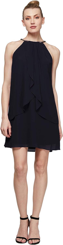 S.L. Fashions Women's Solid Chiffon Halter Dress (Petite and Regular)