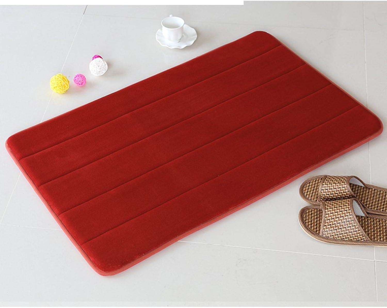 Toilet mat bathroom foot mat suction gate mat bathroom Antiskid mat-Red 90x140cm(35x55inch)