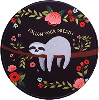 MissOwl Mouse Pad Round Rubber Base Mouse Mat Stitched Edges for Laptop Computer Notebook Office Home Working Desk Decor S...