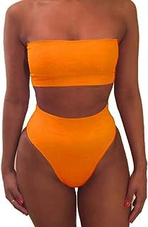 6e0df16ed9 laamei Femme Bikini 2 Pieces Set Soutien-Gorge sans Bretelle Push-up  Maillot de