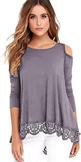 Womens Cold Shoulder Tops Long Sleeve Lace Trim Tunic Blouse