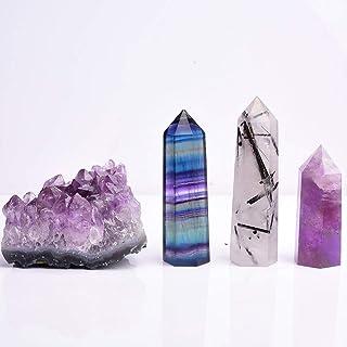 Runyangshi Natural Healing Crystals Gift Kit, Including Amethyst Cluster, Black Quartz Rutilated/Rainbow Fluorite/Amethyst...