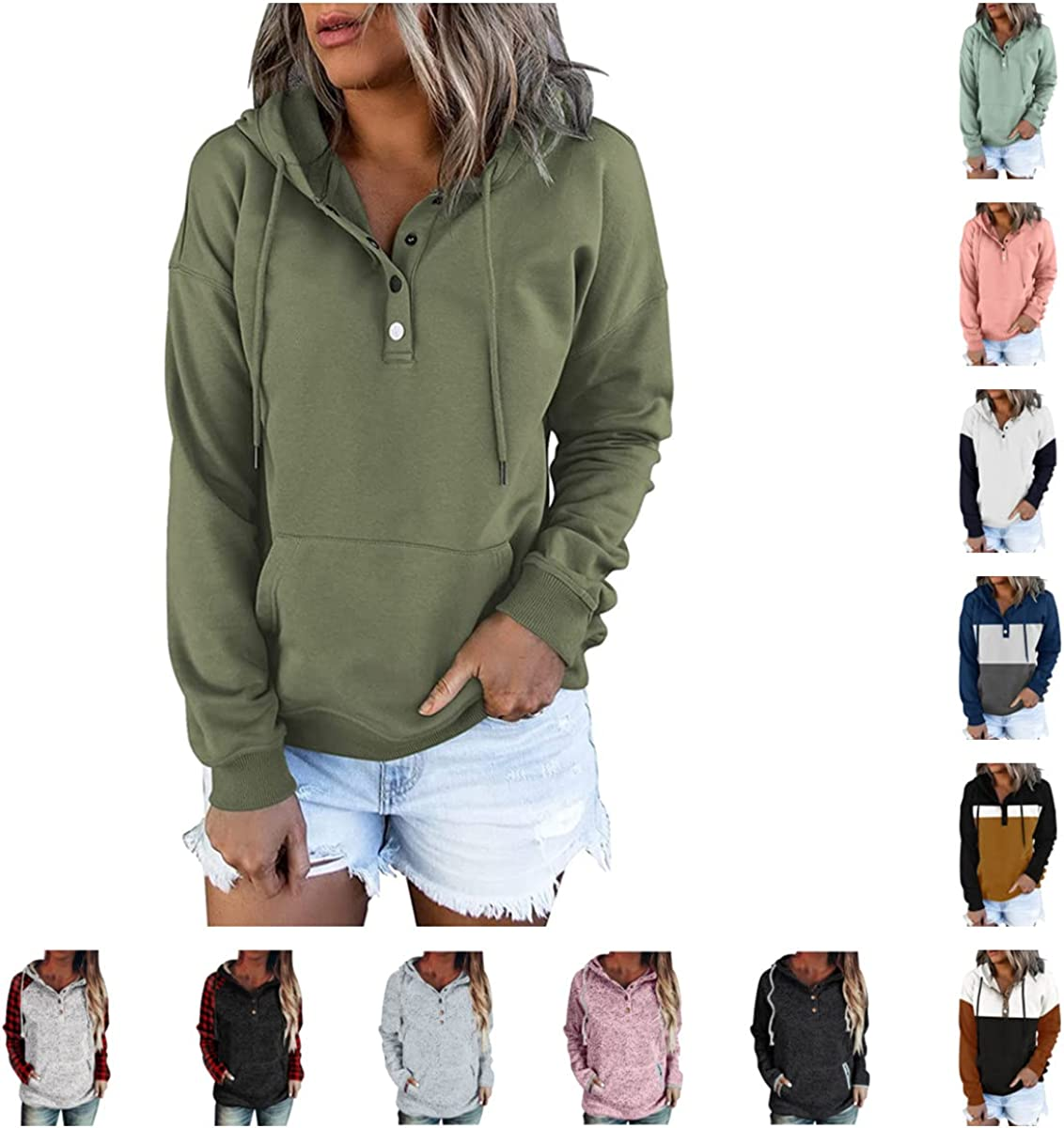 HGWXX7 Pullover Hoodies for Women Oversize Drawstring Sweatshirts Casual Button Down Long Sleeve Sports Pocket Tops