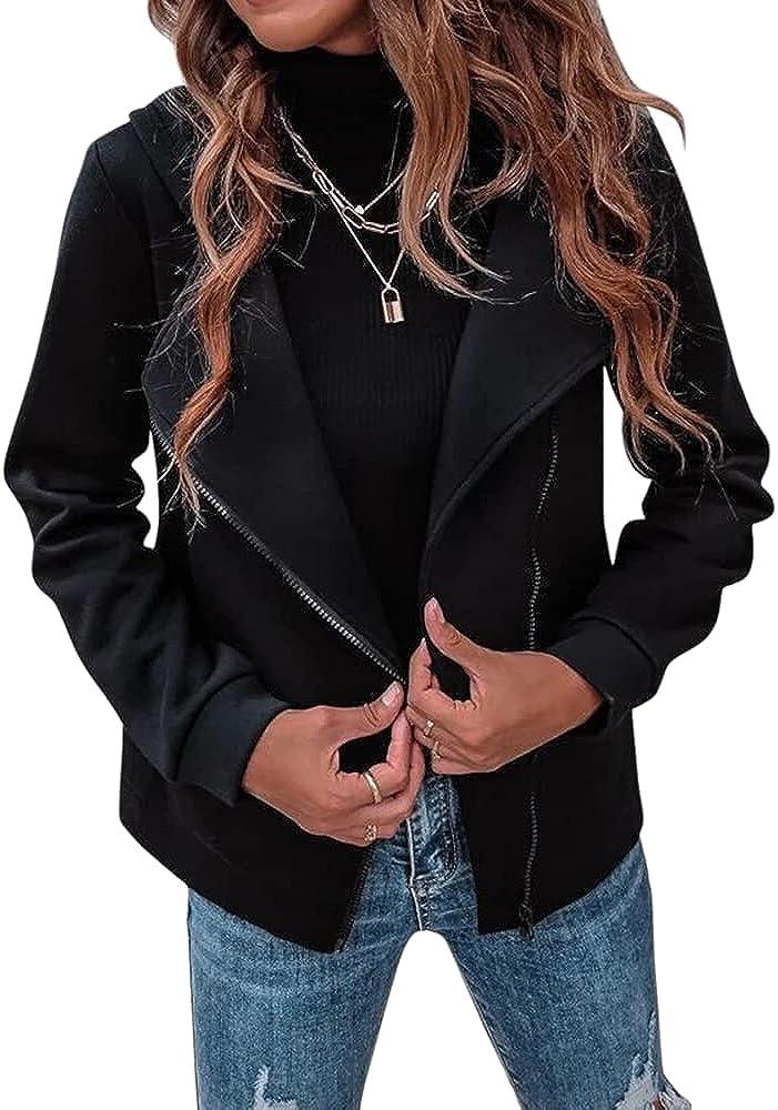 Esobo Women Zipper Hoodie Jacket Oblique Slim Fit Zip Up