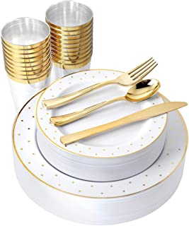 IOOOOO 25 Guest Gold Plastic plates with Silverware & Gold rim Cups, Includes 25 Dinner Plates, 25 Salad Plates, 25 Forks, 25 Knives, 25 Spoons, 25 Tumbles (Dots White/Gold)