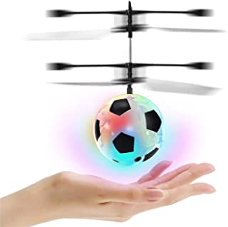 EFGS Flying Ball, RC Children's Toy LED Flying Ball Light Mini Drone Magic Flying Toy, Interesting Infrared Induction Helicopter Children's Toys,Football