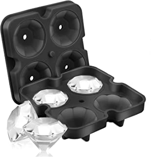 SAWNZC Ice Cube Trays Diamond-Shaped Ice Cube Molds BPA Free Reusable Silicone Flexible 4 Cavity Ice Maker for Chilling Whiskey Cocktails, Funnel Included