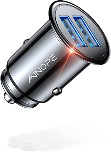 Car Charger, AINOPE 4.8A All Metal Car Charger Adapter Mini Flush Fit USB Car Charger Dual Port Charging Compatible w...