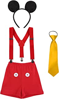 IBTOM CASTLE Baby Boy's 1st/2nd/3rd Birthday Cake Smash Outfits Y Back Suspenders Bloomers Bowtie Cute Mouse Ears Costume