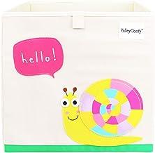 Valleycomfy - Caja de almacenaje de juguetes para niños, cubo plegable de dibujos animados, organizador, cesta para ropa de armario, zapatos, juguetes y puntos, 33 x 33 x 33 cm beige Schnecke