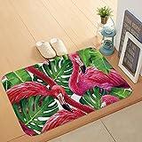 Morbuy Hochflor Flanell Shaggy Schmutzfangmatte Teppich Flamingo 40X60CM Anti-Rutsch-Bequeme Badematte Badezimmer-Teppich saugfähiger weicher Duschteppich-Indoor/Outdoor(Bananenblatt Flamingo)