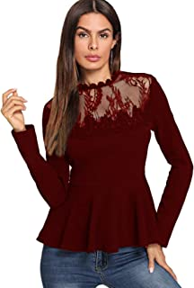Romwe Women's Lace Mesh Round Neck Pleated Elegant Slim Fit Peplum Top Shirt Blouse