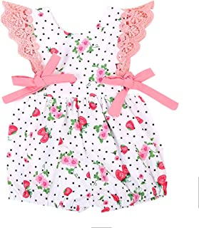 LNGRY Baby Romper,Toddler Newborn Kids Girls Polka Dot Strawberry Floral Printed Lace Ruffle Romper Playsuit