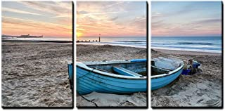 wall26 - 3 Piece Canvas Wall Art - Turquoise Blue Fishing Boat at Sunrise on Bournemouth Beach with Pier in Far Distance - Modern Home Decor Stretched and Framed Ready to Hang - 24