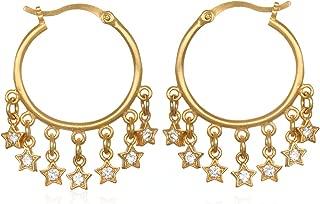 Satya Jewelry Women's White Topaz Gold Star Hoop Earrings, One Size