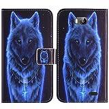 TienJueShi Wolf Flip Book-Style Brief Leder Tasche Schutz Hulle Handy Hülle Abdeckung Fall Wallet Cover Etui Skin Fur TP-Link Neffos C5 Max 5.5 inch