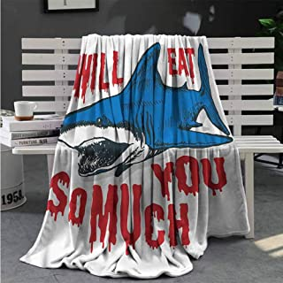 Luoiaax Shark Plush Blanket for Bed Couch Grunge Artwork Eat You Quote Lightweight Life Comfort Blanket W54 x L72 Inch