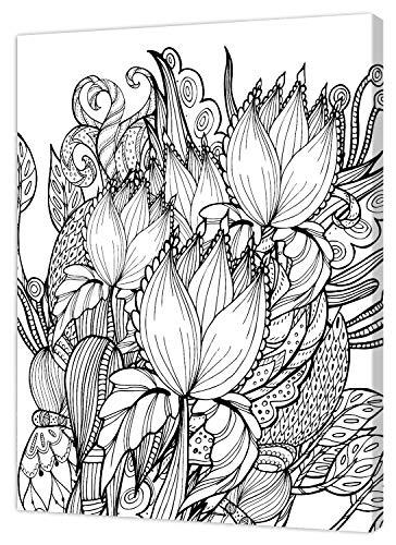 pintcolor 9106 châssis avec toile imprimée à colorier, Wood, blanc/noir, 40 x 50 x 3,5 cm