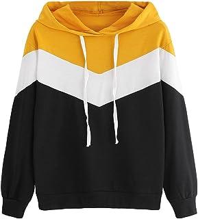 b10c28587f207 Sweatshirt Femme Imprimé, LMMVP Femmes Automne Occasionnelles Patchwork  Manche Longue Sweat à Capuche Pullover Sweat