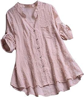 Womens Tops, Women Cotton Linen Casual Solid Long Sleeve Shirt Blouse Button Down Tops
