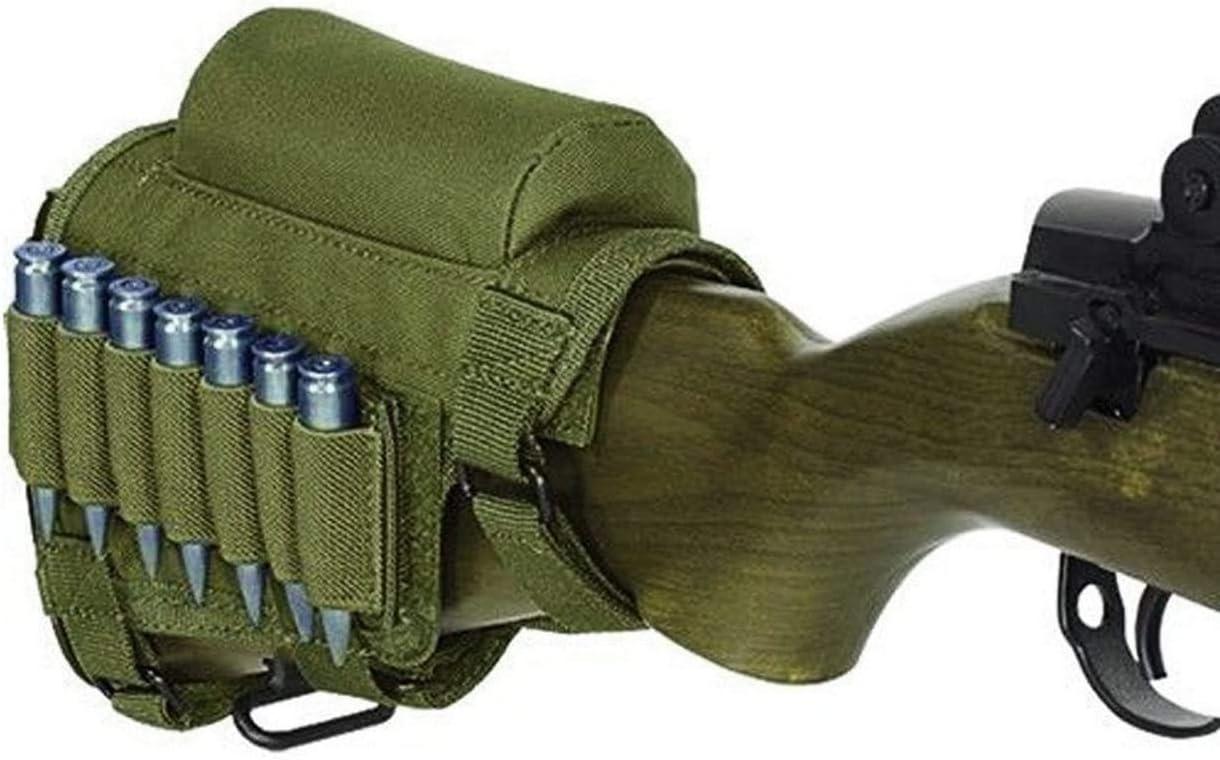 Gexgune Culata de Rifle Pistola táctica, Caza Tiro táctico mejilla Resto Pad munición Bolsa con 7 Conchas Titular mejilla Culata Resto Riser Cartuchos Portador Soporte (4 Colores Opcionales)